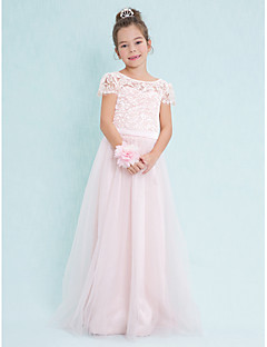 cheap Junior Bridesmaid Dresses-A-Line Scoop Neck Floor Length Lace Tulle Junior Bridesmaid Dress with Lace by LAN TING BRIDE®