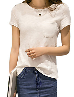 Χαμηλού Κόστους Fine Cotton Statement Tops-Γυναικεία T-shirt Βασικό Μονόχρωμο