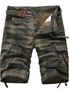 Herre Enkel Mikroelastisk Løstsittende Tynn Shorts Bukser,Mellomhøyt liv Trykt mønster Ruter