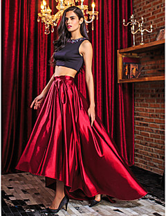 A-Line / Two Piece Jewel Neck Asymmetrical Stretch Satin Two Piece Prom / Formal Evening Dress with Beading by TS Couture®