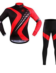 billige Sett med sykkeltrøyer og shorts/bukser-KEIYUEM Langermet Sykkeljersey med tights Sykkel Klessett, Vanntett, Fort Tørring, Pustende
