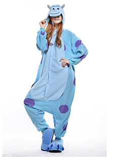 Kigurumi Pyjamas Blåt Monster Heldragtskostumer Pyjamas Kostume Polarfleece Blå Cosplay Til Voksne Nattøj Med Dyr Tegneserie Halloween