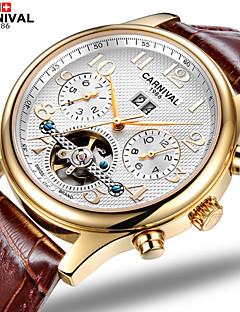 Χαμηλού Κόστους Brand Watches-Carnival Ανδρικά Αυτόματο κούρδισμα Διάφανο Ρολόι Εσωτερικού Μηχανισμού Δέρμα Μπάντα Φυλαχτό Καφέ