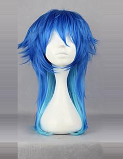 Cosplay Perukları Dramatik Cinayet Aoba Segaraki Mavi Orta Anime / Video Oyunları Cosplay Perukları 60 CM Isı Dirençli Fiber Erkek