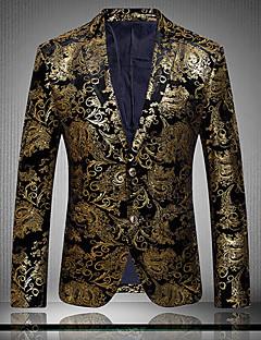 Erkeklerin Desen Günlük / Büyük Beden Pamuklu / Polyester Uzun Kollu Blazer Ceket Altın