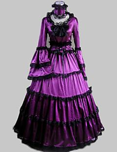ワンピース/ドレス クラシック/伝統的なロリータ ビンテージ コスプレ ロリータドレス パープル ビンテージ ポエット 長袖 ロング丈 ドレス カラー ために サテン