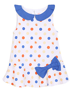 Dress,Cotton Summer Sleeveless Dot Bow White