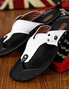 hesapli -Erkek Ayakkabı Tüylü Bahar Yaz Rahat Terlik & Flip-flops Günlük Dış mekan için Perçin Beyaz Siyah Turuncu Sarı