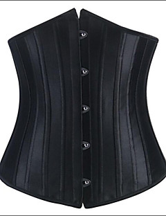 Women Underbust Corset Nightwear Solid Polyester / Satin / Spandex Black Women's