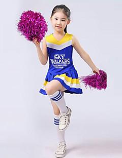 billige Danseklær til barn-Kostymer til heiajenter Drakter Ytelse Polyester Drapert Ermeløs Høy Topp Skjørte