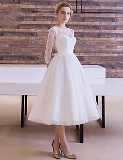 billiga Brudklänningar-A-linje / Prinsessa Bateau Neck Telång Spets på tyll Bröllopsklänningar tillverkade med Bälte / band av LAN TING Express / Illusion / Liten vit klänning / Genomskinliga