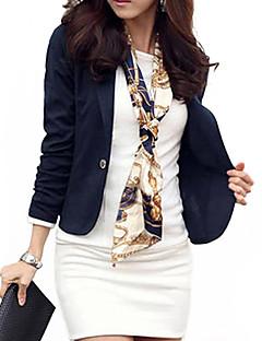 여성 솔리드 긴 소매 블레이져 블루 / 화이트 / 블랙 / 브라운 가을 / 겨울 중간