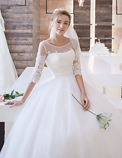 Ball Gown Illusion Neckline Sweep / Borstel Train Tulle Trouwjurk Met Appliques Door Lan Ting Bride®