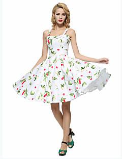 여성 A 라인 스케이터 드레스 데이트 플러스 사이즈 빈티지 플로럴,스트랩 무릎길이 민소매 면 사계절 높은 밑위 약간의 신축성 얇음