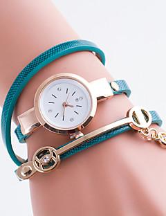 billige Armbåndsure-Dame Quartz Simuleret Diamant Ur Afslappet Ur PU Bånd Elegant Mode Sort Hvid Blåt Rød Grøn Pink Gul Kaki