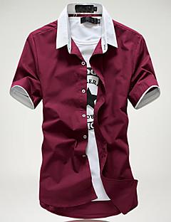 メンズ カジュアル/普段着 ワーク シャツ カラーブロック コットン ポリエステル 半袖