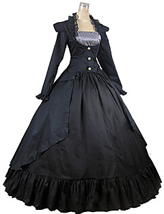 victorian medieval square neck costume womens dress party costume masquerade black vintage cosplay cotton long sleeve ankle length long length halloween