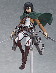 billige Anime cosplay-Anime Action Figurer Inspirert av Attack on Titan Mikasa Ackermann PVC 14 cm CM Modell Leker Dukke