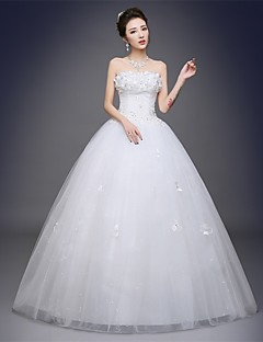 Ball Gown Strapless Floor Length Satin Tulle Wedding Dress with Appliques by Embroidered bridal