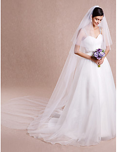 Two-tier Cut Edge Wedding Veil Cathedral Veils With 118.11 in (300cm) Tulle