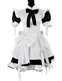billiga Lolitaklänningar-Gotisk Lolita Klassisk/Traditionell Lolita Prinsessa Satin Dam Piguniform Cosplay Puff Kortärmad Medium längd