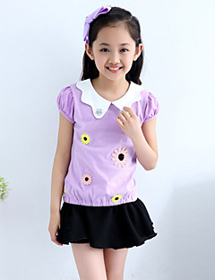 Girl's Cotton Summer Flower Adornment Doll Collar Short Sleeve Tee