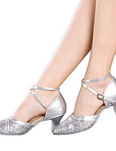 baratos -Mulheres Sapatos de Dança Latina Glitter / Paetês / Sintético Sandália / Salto / Têni Lantejoulas / Gliter com Brilho / Presilha Salto Cubano Não Personalizável Sapatos de Dança Vermelho / Prateado
