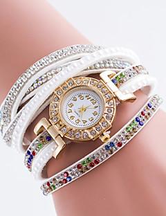 女性用 ファッションウォッチ ダミー ダイアモンド 腕時計 クォーツ PU バンド ブラック 白 ブルー レッド ブラウン グリーン ピンク カーキ ローズ