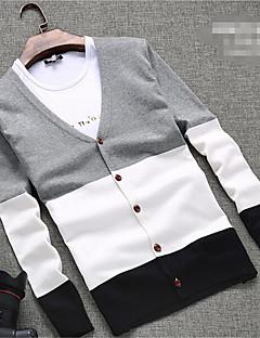 メンズ カジュアル/普段着 レギュラー カーディガン,カラーブロック 長袖 コットン