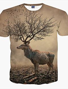 男性用 プリント カジュアル / フォーマル / スポーツ / プラスサイズ Tシャツ,半袖 ポリエステル,ブラウン