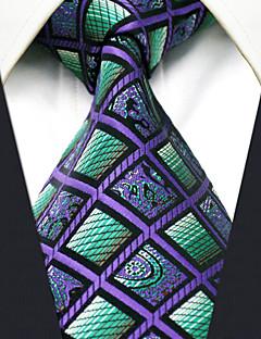 billige Slips og sløyfer-menns fest arbeid rayon slips farge blokk sjekk jacquard, basic