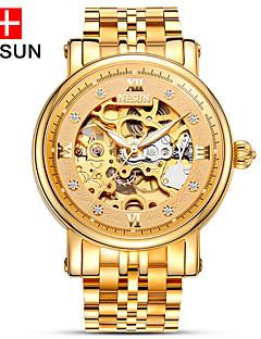 nesun 男性 スケルトン腕時計 透かし加工 自動巻き ステンレス バンド ゴールド