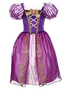 Menina de Vestido Jacquard Poliéster / Misto de Algodão / Organza Todas as Estações Violeta