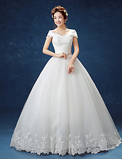 Ball Gown Off-the-shoulder Floor Length Tulle Wedding Dress with Lace by Embroidered bridal