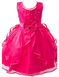 tanie Odzież dla dziewczynek-Sukienka Poliester Dziewczyny Wyjściowe Żakard Lato Bez rękawów Koronka White Purple Fuchsia