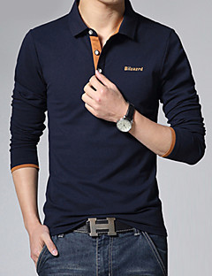 Men's Casual/Work/Formal/Plus Sizes Pure Long Sleeve Regular Polo (Cotton)XKS7B22