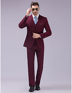 cheap Suits-Burgundy Slim Fit Suit - Slim Notch Single Breasted One-button