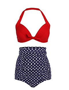 Women's Polka Dot Dot Retro High Rise Halter Bikini Swimwear,Polyester Nylon Red