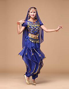 ריקוד בטן תלבושות בגדי ריקוד נשים ביצועים שיפון 4 חלקים שרוול קצר טבעי עליון מכנסיים חגורה אביזרים לשיער