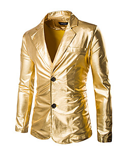 cheap Men's Blazers & Suits-Men's Party / Holiday / Club Sophisticated / Exaggerated Regular Blazer, Solid Colored Long Sleeve Cotton / Polyester Gold / Black / Silver XL / XXL / XXXL / Slim