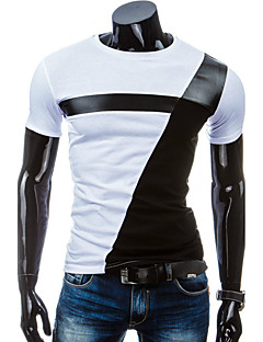 cheap Men's Tees & Tank Tops-Men's Sports Cotton Slim T-shirt - Color Block Black & White, Patchwork Round Neck / Short Sleeve