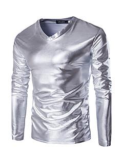 お買い得  メンズTシャツ&タンクトップ-男性用 スポーツ 週末 Tシャツ スリム ソリッド コットン