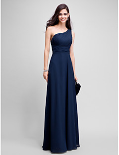 cheap -Sheath / Column One Shoulder Floor Length Chiffon Prom / Formal Evening Dress with Beading by TS Couture®