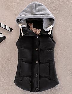 Manteau Doudoune Femme,Normal simple Sports Décontracté / Quotidien Couleur Pleine Mosaïque-Coton Polyester Polypropylène Sans Manches