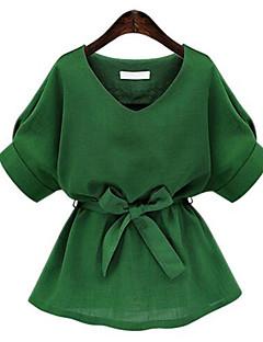 婦人向け お出かけ 夏 ブラウス,ストリートファッション Vネック ソリッド ピンク / ホワイト / グリーン コットン 半袖 ミディアム