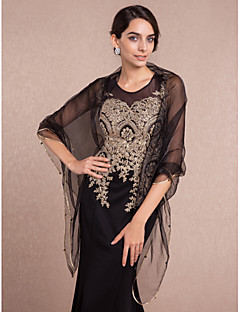 cheap Wedding Wraps-Sleeveless Tulle Wedding Party Evening Casual Women's Wrap With Pearl Shawls