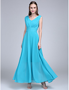 cheap Imperial Blue-A-Line V Neck Ankle Length Chiffon Bridesmaid Dress with Ruched Side Draping by LAN TING BRIDE®