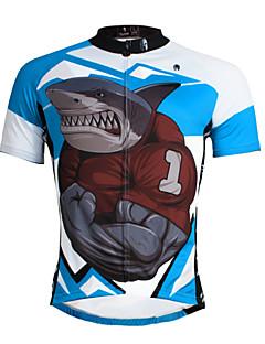 billige Sykkelklær-ILPALADINO Herre Kortermet Sykkeljersey - Blå Shark Sykkel Jersey Topper, Pustende Fort Tørring Ultraviolet Motstandsdyktig Terylene / Elastisk / Refleksbånd / Svettereduserende