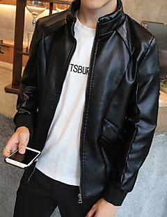 Χαμηλού Κόστους Men's Leather Jackets-Ανδρικά Σακάκι Αθλητικά Δουλειά Μονόχρωμο