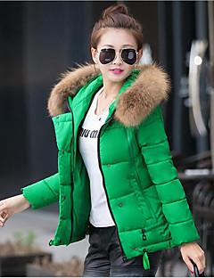 お買い得  レディースダウン&パーカー-女性用 祝日 ストリートファッション フード付き ダウン ソリッド コットン